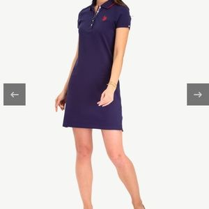 US Polo Pique Tipped Dress Navy Blue Pink Preppy
